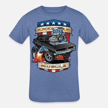 Muscle American Muscle Patriotic Muscle Car Cartoon - Kids' Tri-Blend T-Shirt