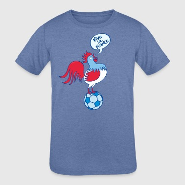 French rooster standing on a soccer ball - Kid's Tri-Blend T-Shirt