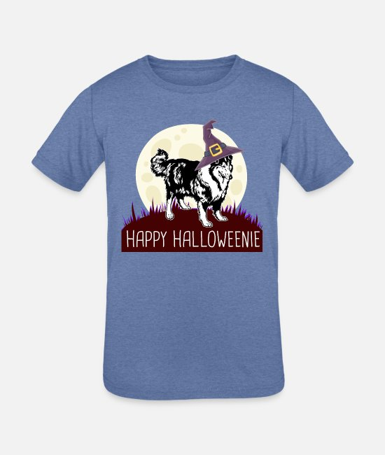 German Shepherd T-Shirts - BORDER COLLIE Happy Halloweenie gift i - Kids' Tri-Blend T-Shirt heather Blue