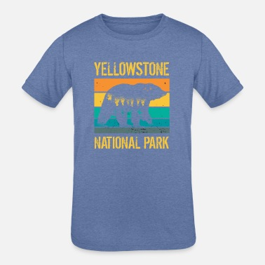 Natural Vintage Yellowstone National Park Bear - Kids' Tri-Blend T-Shirt