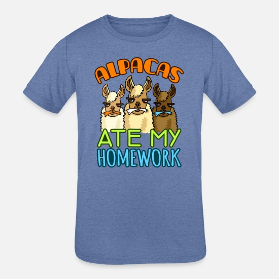 For Girls T-Shirts - Alpacas Ate My Homework - Kids' Tri-Blend T-Shirt heather Blue