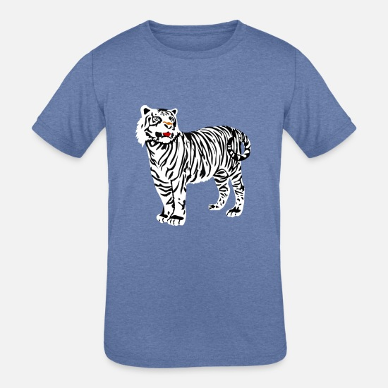 Birthday T-Shirts - white tiger Animal - Kids' Tri-Blend T-Shirt heather Blue