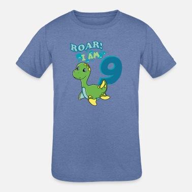 9th Birthday T Shirt Kids Cute Dinosaur