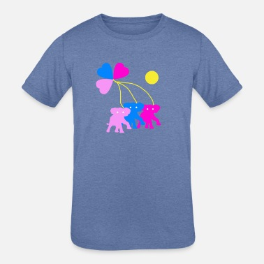 Elephant Heart Three hearts and three elephants - Kids' Tri-Blend T-Shirt