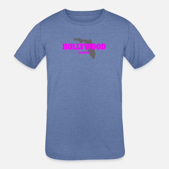 Florida T-Shirts - FLORIDA HOLLYWOOD US STATE EDITION PINK - Kids' Tri-Blend T-Shirt heather Blue