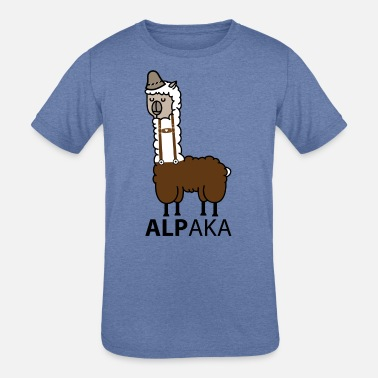 Leather Pants Alpaca with leather pants - Kids' Tri-Blend T-Shirt