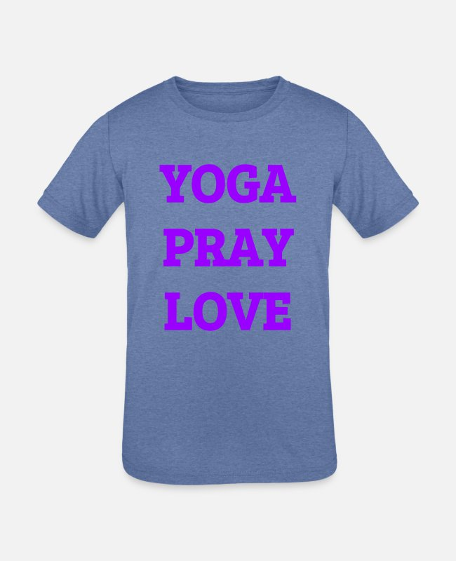 Yogi T-Shirts - Yoga Pray Love - Kids' Tri-Blend T-Shirt heather Blue