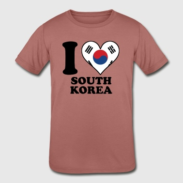 I Love South Korea Korean Flag Heart - Kid's Tri-Blend T-Shirt