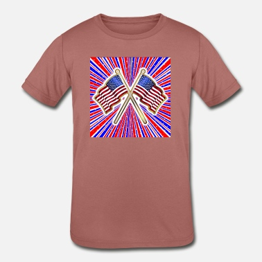 Red White And Blue Rays Background With Stars And - Kids' Tri-Blend T-Shirt