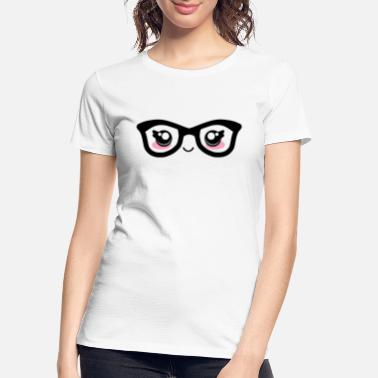 Facial Expressions Cute funny kawaii facial expression with glasses - Women's Organic T-Shirt