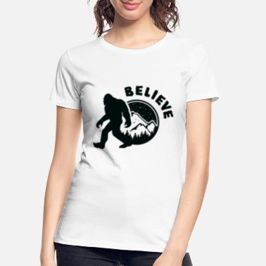 Yeti Sasquatch Believe, Yeti Bigfoot mountain and tree - Women's Organic T-Shirt
