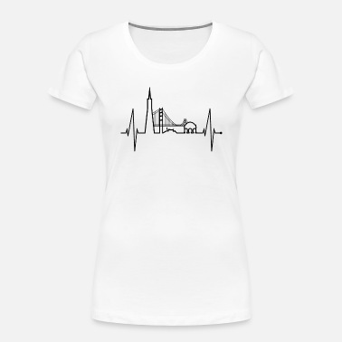 Cable San Francisco Skyline Heartbeat California Lover - Women's Organic T-Shirt