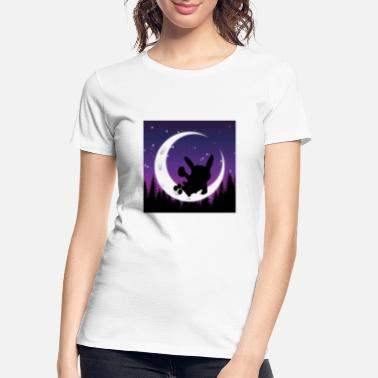 Ordinary Easter bunny on the moon, night sky - Women's Organic T-Shirt