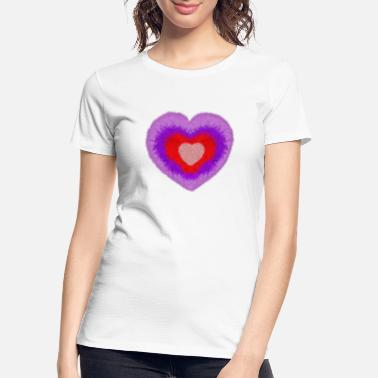 fluffy multi-colored heart - Women's Organic T-Shirt