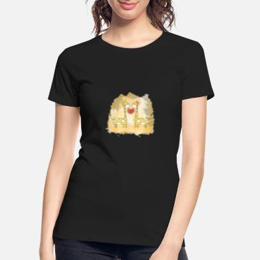 Hand Drawn Hand drawn couple cartoon animals giraffe I love u - Women's Organic T-Shirt