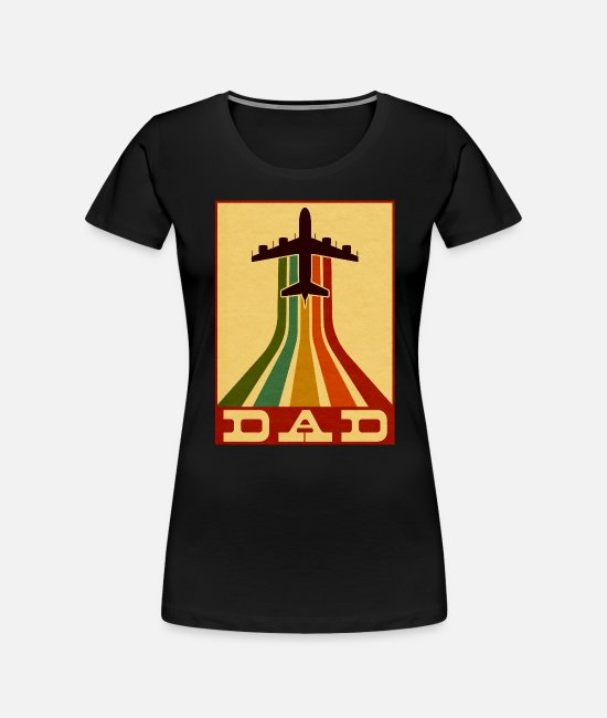 Pilot T-Shirts - Retro Pilot Dad Vintage Airplane Aviation Father - Women's Organic T-Shirt black
