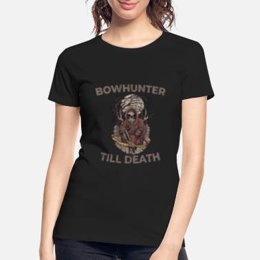 Target Bowhunting I Skull Skeleton Death with Compound - Women's Organic T-Shirt