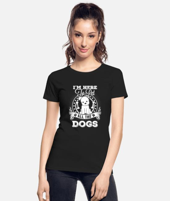 Breast Cancer Walk Dogs T-Shirts - Dog - I'm here to pet all the dogs awesome t - shi - Women's Organic T-Shirt black