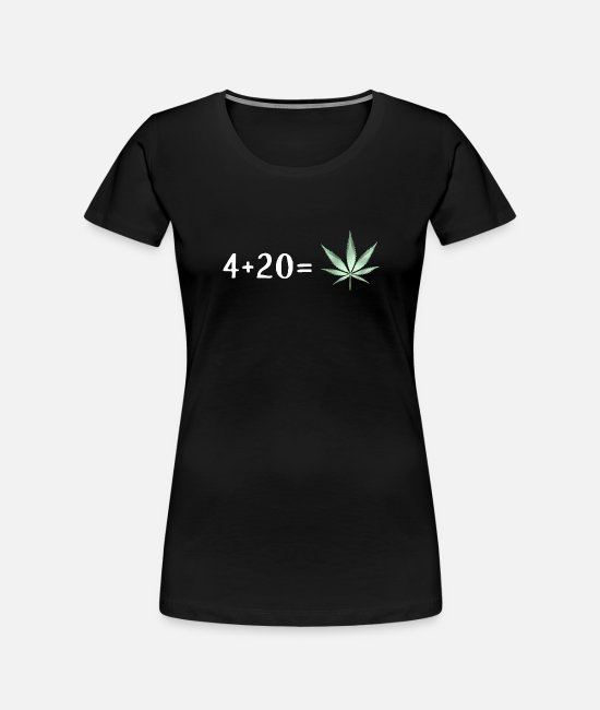 Hemp T-Shirts - 4 + 20 is Cannabis Lover Stoners Birthday Gift - Women's Organic T-Shirt black