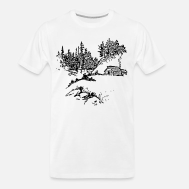 Scene cabin along stream - Men's Organic T-Shirt