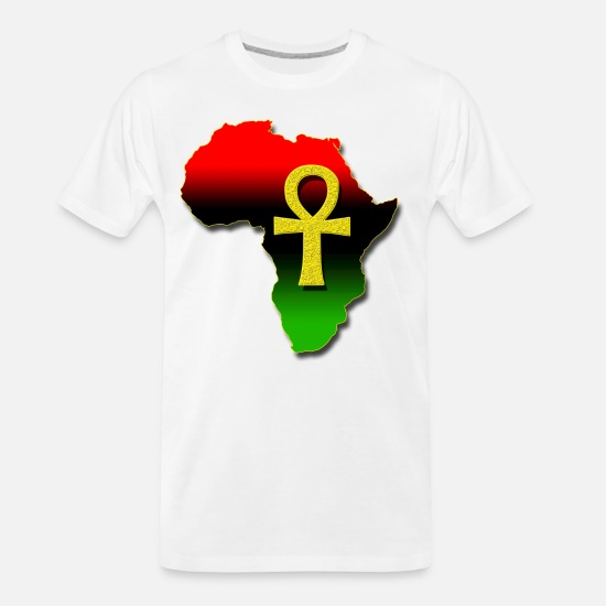 Red T-Shirts - Africa and ANKH.png - Men's Organic T-Shirt white