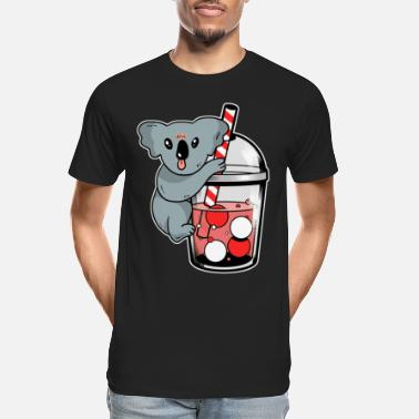 Koala Drinking Boba Cute Kawaii Bubble Tea print - Men's Organic T-Shirt