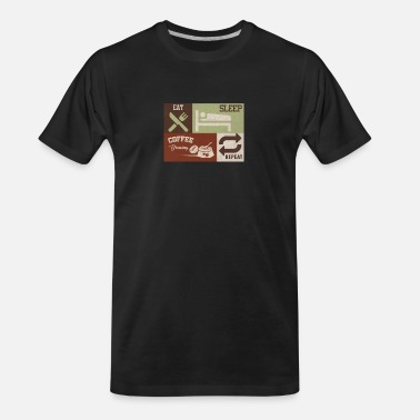 Coffee Bean Eat Sleep Coffee Brewing Repeat Beans Caffeine - Men's Organic T-Shirt