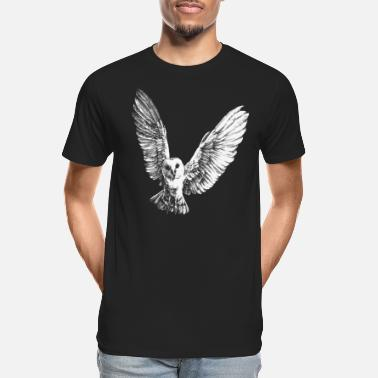 Owl Flying Barn Owl Portrait (for dark products) - Men's Organic T-Shirt