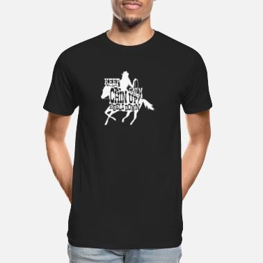 Cattle Chin up! Heels down | pink love riding gift - Men's Organic T-Shirt