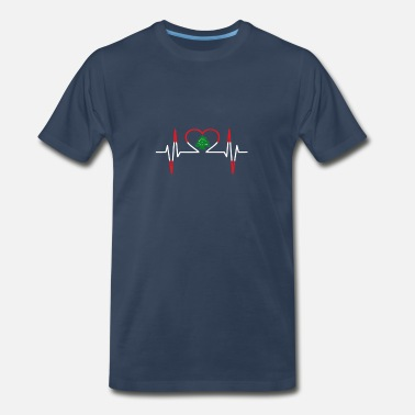 Heartbeat ECG Lebanon Lebanese Country Flag Color - Men's Organic T-Shirt