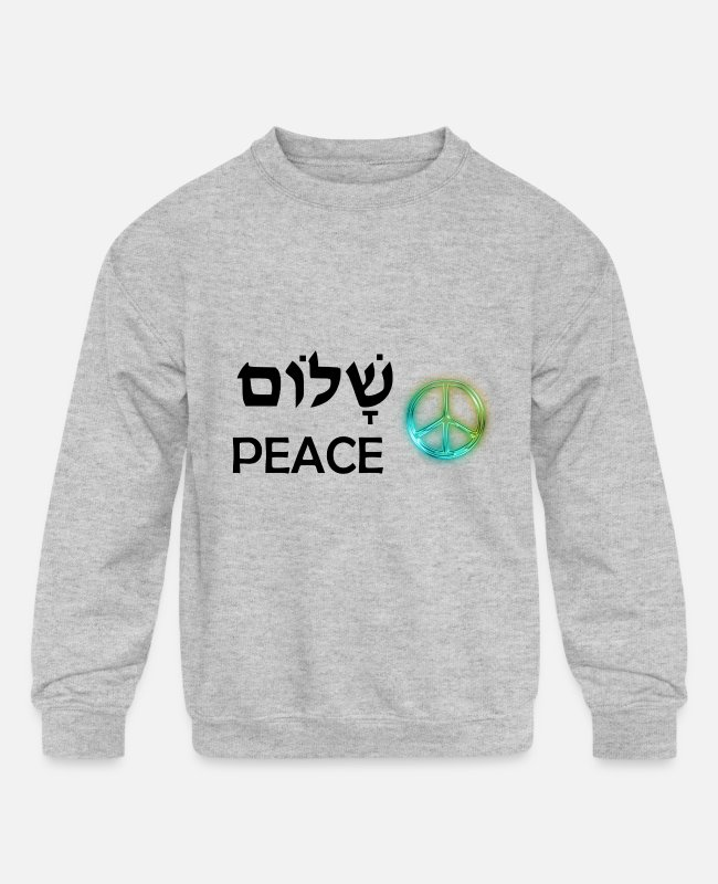 Hippy Hoodies & Sweatshirts - Shalom - Peace - Hebrew Jewish - Kids' Crewneck Sweatshirt heather gray