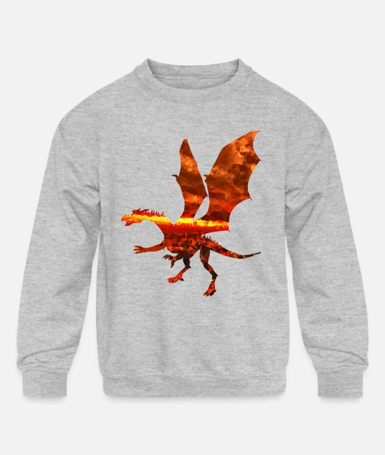 Red Hoodies & Sweatshirts - Magma Dragon 3 - Kids' Crewneck Sweatshirt heather gray