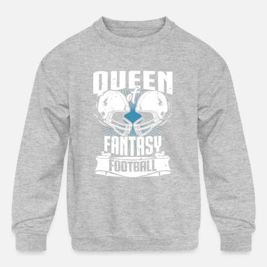 Fantasy Hoodies & Sweatshirts - Queen Of Fantasy Football Fantasy Sports - Kids' Crewneck Sweatshirt heather gray