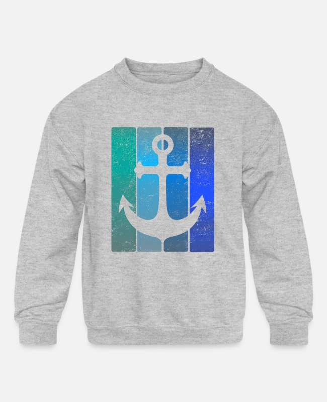 Sail Boat Hoodies & Sweatshirts - Anchor - Kids' Crewneck Sweatshirt heather gray