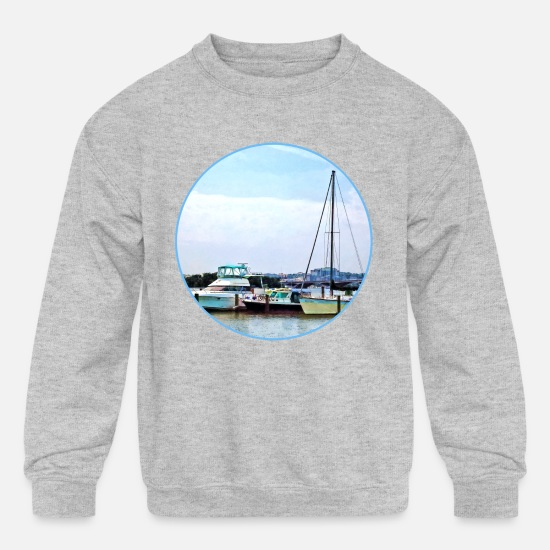 Mount Hoodies & Sweatshirts - Alexandria VA - Boats on the Potomac Near Founders - Kids' Crewneck Sweatshirt heather gray