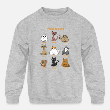 Cat Breed Cat Breeds Cat mother Lady funny gift - Kids' Crewneck Sweatshirt
