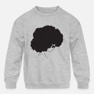 Natural Afro Woman Black Hair Style Natural Confident - Kids' Crewneck Sweatshirt