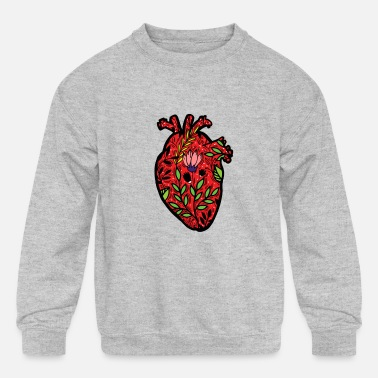 Preme Cool Artistic Anatomical Human Heart Science Shirt - Kids' Crewneck Sweatshirt