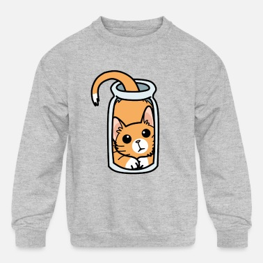 Cat in glass - Kids' Crewneck Sweatshirt