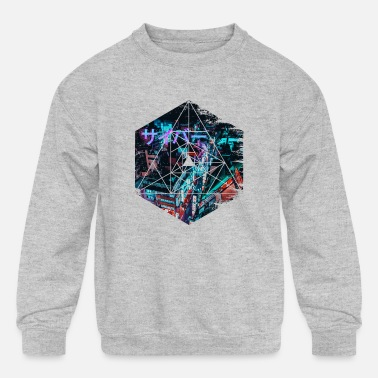 Geometric Cyberpunk Japan - Geometric Abstract Steampunk - Kids' Crewneck Sweatshirt