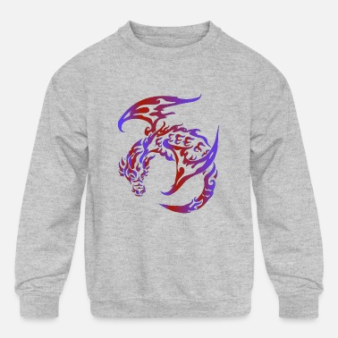 Fierce Dragon Tattoo Design Epic Calligraphy Style - Kids' Crewneck Sweatshirt
