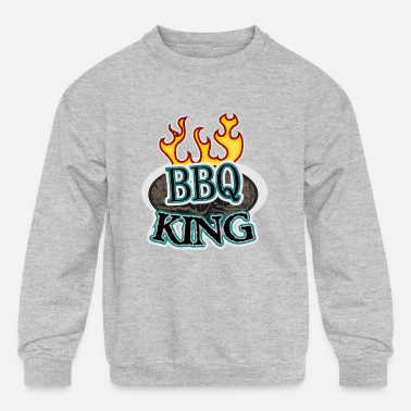 BBQ KING with flames - Kids' Crewneck Sweatshirt