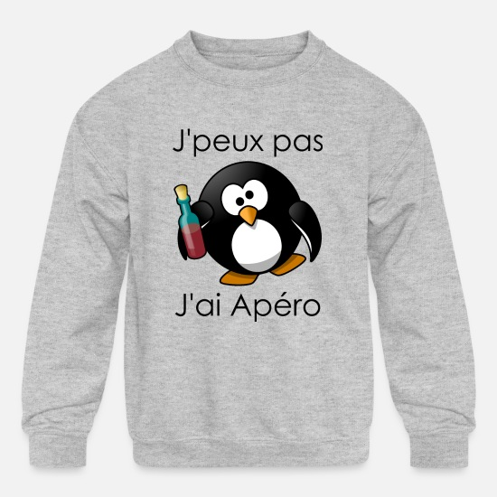 Apelike Hoodies & Sweatshirts - I can't. I've got Aperitif (French version) - Kids' Crewneck Sweatshirt heather gray