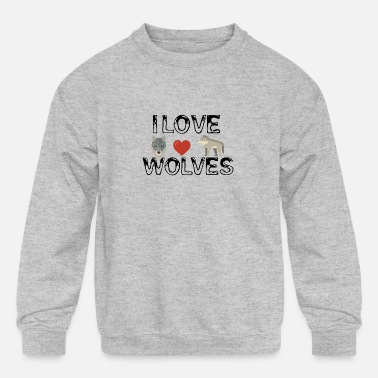 Love Wolves I love wolves - Kids' Crewneck Sweatshirt