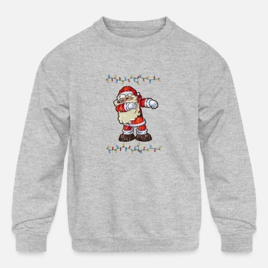 Dabbing Santa Claus Graphic Gifts Fairy Light Chri - Kids' Crewneck Sweatshirt