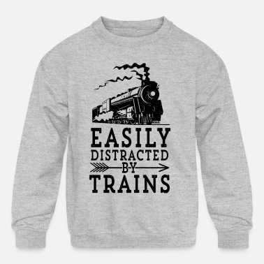 Steam Engine Steam Engine Locmotive Gift Easily Distracted By - Kids' Crewneck Sweatshirt