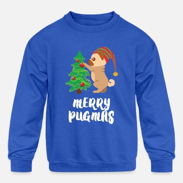 e850548e Ugly Christmas Merry Pugmas Pug Pet Dog Funny Christmas - Kids'  Crewneck Sweatshirt