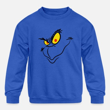 Grinch Face, Christmas Grinch - Kids' Crewneck Sweatshirt