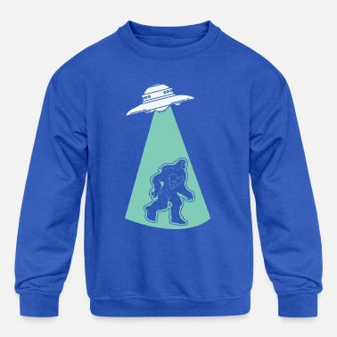 Hijacker UFO Alien Flying Saucer Abduction Hijacking Yeti - Kids' Crewneck Sweatshirt