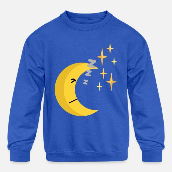 Gift Idea Hoodies & Sweatshirts - sleeping half moon - Kids' Crewneck Sweatshirt royal blue